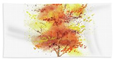 Beach Towel featuring the painting Splash Of Fall Watercolor Tree by Irina Sztukowski