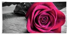 Splash Of Red Rose Beach Towel