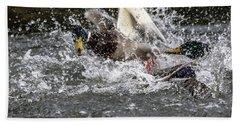 Splashing Mallards  Beach Towel