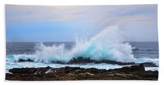 Splashing Waves Of Tsitsikamma Beach Sheet by Jeff at JSJ Photography