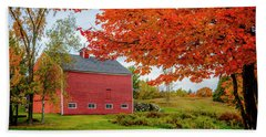 Splendid Red Barn In The Fall Beach Sheet