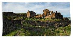 Splendid Ruins Of St. Sargis Monastery In Ushi, Armenia Beach Towel by Gurgen Bakhshetsyan