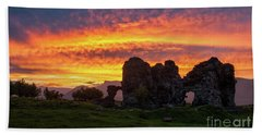 Splendid Ruins Of Tormak Church During Gorgeous Sunset, Armenia Beach Towel by Gurgen Bakhshetsyan