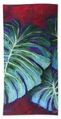Split Leaf Philodendron Beach Sheet by Phyllis Howard