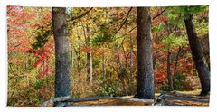 Split Rail Fence And Autumn Leaves Beach Towel