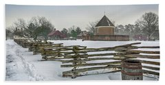 Split Rail Fence In Front Of Colonial Williamsburg Magazine Beach Towel
