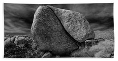 Beach Sheet featuring the photograph Split Rock In Black And White At Joshua Tree National Park by Randall Nyhof
