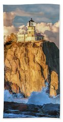 Beach Towel featuring the painting Split Rock Lighthouse by Christopher Arndt