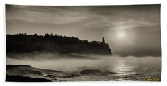 Split Rock Lighthouse Emerging Fog Beach Towel