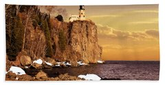 Beach Towel featuring the photograph Split Rock Lighthouse by Susan Rissi Tregoning