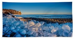 Split Rock Lighthouse With Ice Balls Beach Towel