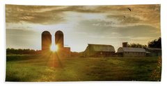 Split Silo Sunset Beach Sheet by Benanne Stiens