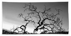 Split Single Tree On Hillside - Black And White Beach Towel