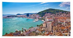 Split Waterfront And Marjan Hill View Beach Sheet by Brch Photography