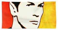 Beach Towel featuring the painting Spock Vulcan Star Trek Pop Art by Bob Baker