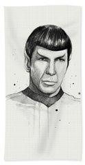 Spock Watercolor Portrait Beach Towel
