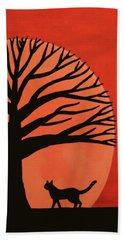 Spooky Cat Tree Beach Towel