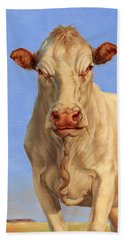 Beach Sheet featuring the painting Spooky Cow by Margaret Stockdale