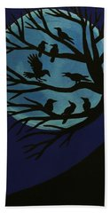 Spooky Raven Tree Beach Sheet
