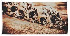 Spooky Skeleton Craniums  Beach Towel
