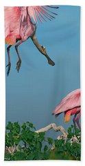 Spoonbills Greeting Beach Towel