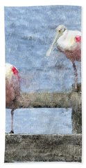 Spoonbills Hanging Out Beach Towel