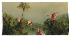 Spoonbills In The Mist Beach Towel