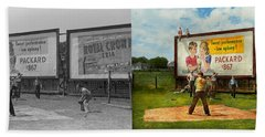 Sport - Baseball - America's Past Time 1943 - Side By Side Beach Towel by Mike Savad