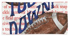 Sports Fan Football Beach Towel by Debbie DeWitt