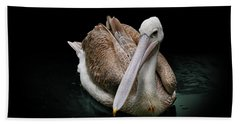 Spotlight On A Pink-backed Pelican Beach Towel