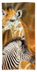 Beach Towel featuring the mixed media Spots And Stripes - Giraffe And Zebra by Carol Cavalaris