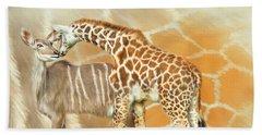 Beach Towel featuring the mixed media Spots And Stripes - Giraffe - Antelope by Carol Cavalaris
