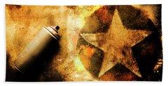 Spray Can With Army Star Graffiti Beach Towel