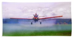 Beach Towel featuring the photograph Spraying The Fields - Crop Duster - Aviation by Jason Politte
