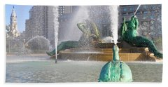 Beach Towel featuring the photograph Spraying Water At Swann Fountain - Philadelphia by Bill Cannon