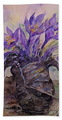 Beach Towel featuring the painting Spring In Van Gogh Shoes by AmaS Art