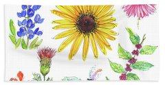 Spring 2017 Medley Watercolor Art By Kmcelwaine Beach Towel by Kathleen McElwaine