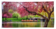 Beach Towel featuring the photograph Spring Afternoon In The Boston Public Garden - Boston Swan Boats by Joann Vitali
