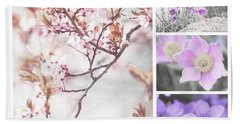 Beach Towel featuring the photograph Spring Bloom Collage 1. Shabby Chic Collection by Jenny Rainbow