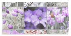 Beach Towel featuring the photograph Spring Bloom Collage. Shabby Chic Collection by Jenny Rainbow