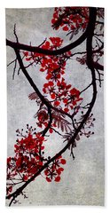 Spring Bloosom In Maldives. Flamboyant Tree II. Japanese Style Beach Towel
