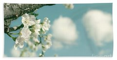 Spring Blossoms And Puffy Clouds Beach Towel