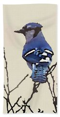 Beach Towel featuring the digital art Spring Bluejay by Shelli Fitzpatrick