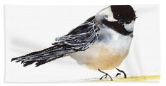 My Little Chickadee Bird Art Watercolor And Gouache And Ink Painting By Kmcelwaine Beach Sheet