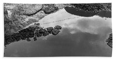 Spring Clouds Puddle Reflection Beach Towel