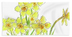 Beach Sheet featuring the painting Spring Daffodils by Cathie Richardson