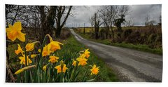 Beach Towel featuring the photograph Spring Daffodils On An Irish Country Road by James Truett