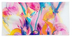 Spring Floral Abstract Beach Towel