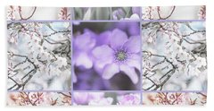 Beach Towel featuring the photograph Spring Flower Collage. Shabby Chic Collection  by Jenny Rainbow