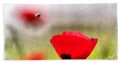 Spring Flowering Poppies Beach Sheet